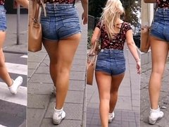 #100 Blonde girl with hot ass in jeans shorts