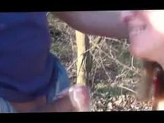 Dogging in the forest with anal creampie at the end