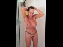 Hairy mature with tattoo morning shower