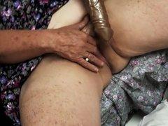 old hairy granny enjoys cum