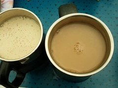 Cum in her cup of tea. Pics at end of her drinking it.