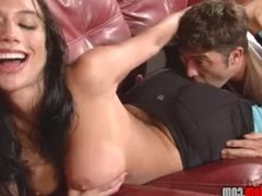 Girl with big tits and ass in leggings smothers a guy FACE SITTING
