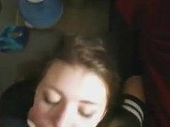 Cute college girl face fucked but hangs in there for the cum