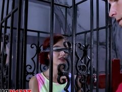 Redhead teenie gets locked up in a cage and fucked hard