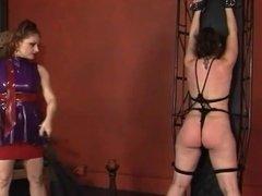 Lesbian restrains her slave girl
