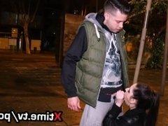 italian girl Rebecca brutally fucked on the street, deepthroating anal fuck