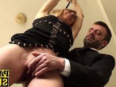 Face fucked milf BDSM sex slave swallows his warm cock juice