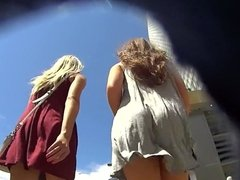2 hot girls in loose dress both without panties