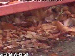 Voyeur video with young provocative schoolgirl outdoor