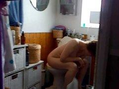 Voyeur mature big tits milf bathroom toilet capture