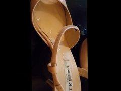 Cumshot on high heeled sandals