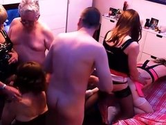 Amateur T-Girl Orgy Part 2, with 4 Girls and 2 Guys.