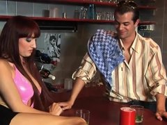 Busty girl has sex with barkeeper