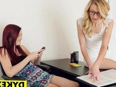 Lesbian girl teaching slut