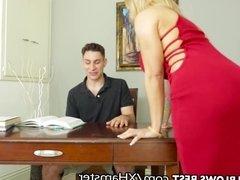 Big Tit Step MILF Sucks & Jerks Son's Big Dick B4 Daddy Sees