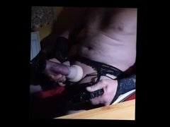 Penis pump training and cock jerking in black lace