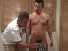 Japanese bear and muscle guy oral job and hand job