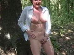 lady stripping in nature