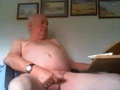 British dad stroking nice uncut cock on cam