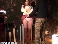 Submissive obedient schoolgirls in a homemade BDSM scene
