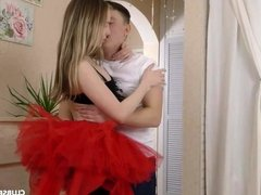 Lucky nerd fucks his busty blonde ballerina teen girlfriend