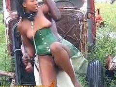 Kinky black beauty tied up and fucked