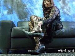 Mature Herrin Carmen Fishnet Pantyhose Legs and Spike Heels