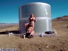 Lesbian teen Jayme Langford pussy licking in the desert