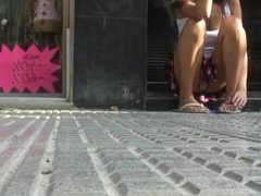 Girl Showing Upskirt Panties On Shop Steps