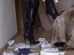 Thigh high boots with very high heels