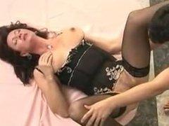 Saggy Tits Granny Fucks Young Guy Stockings