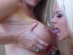 Amber Michaels and Nikita von James tit play