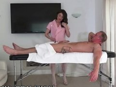 Busty MILF masseuse roughly fucked by dominant client