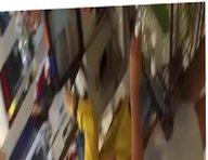 Upskirt in supermarket HOT BLONDE MILF