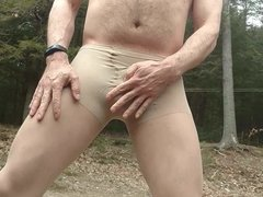 Cumming Outside Wearing Pantyhose