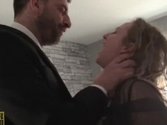 Pretty submissive BBW gagged and hammered hard by dom