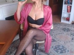 Beautiful MILF in Black Fantasy Pantyhose Teasing on Webcam