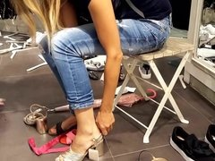 she tries new open heels sexy feets toes