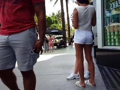 Candid voyeur thin tight teen in white shorts gorgeous