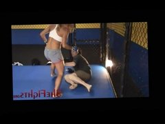 Cage Fight: Julie vs English Guy -Painful Experiment for boy