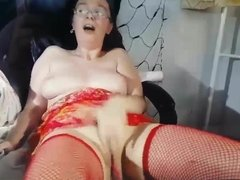 Very horny and ugly Milf with nice tits masturbating on cam
