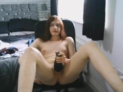 Young Trans girl with vibrator in chastity Butt plug Part 2