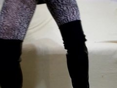 My legs in leopard pantyhose and high heels