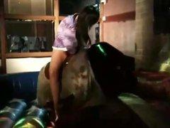 Bull rider upskirt, dress around her waist