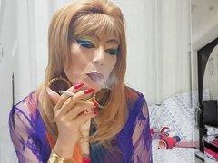 sissy girl niclo sexy makeup after smokings