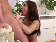Cum In Mouth - Lana takes a mouthful sucking her man dry