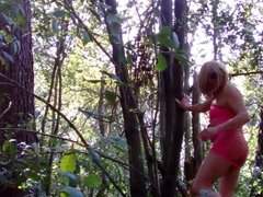 In the forest in pink panties