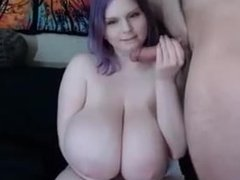 bbw with a huge white boobs suck an roomate and make him cum