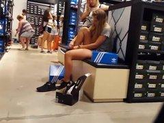Candid voyeur thick blond sneaker shopping