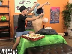 Deviant pizza twink gets tipped in the ass bareback style